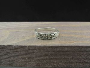 Size 5.75 Sterling Silver Simple Marcasite Stone Band Ring Vintage Statement Engagement Wedding Promise Anniversary Bridal Cocktail for Sale in Everett, WA