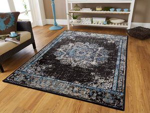 Black blue traditional area rug 5x8 8x11 for Sale in Baltimore, MD