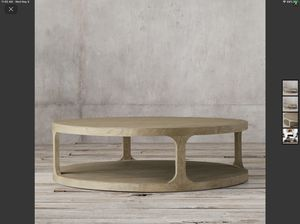 Restoration Hardware Martens 3' Round Coffee Table in Aged Elm for Sale in Buena Park, CA
