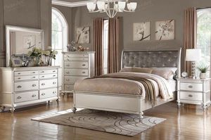 $1699 4 PIECES SILVER PLATINUM QUEEN BEDROOM SET INCLUDED QUEEN BED FRAME DRESSER MIRROR AND ONE NIGHT STAND WITH MATTRESS Experience the magical pr for Sale in Chino, CA