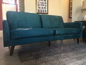 "Sofa / futon brand new / couch / adjustable sleeping bed / teal / 77"" wide by 30"" deep by 4ft deep in sleeping position / velvet smooth fabric Ca for Sale in Glendale, AZ"