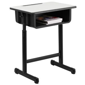 Desk with Grey Top and Adjustable Height Black Pedestal Frame for Sale in Los Angeles, CA