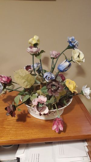 Royal Copenhagen fruit bowl 1054 w/ antique bone china flowers for Sale in Bethesda, MD