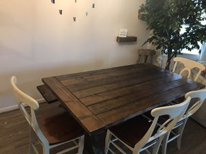 Custom Farmhouse Table w Bench and 4 chairs for Sale in Virginia Beach, VA