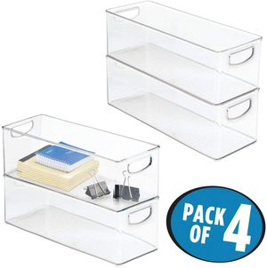 mDesign Large Stackable Plastic Storage Bin Container, Home Office Desk and Drawer Organizer Tote with Handles - Holds Gel Pens, Erasers, Tape, Pens,. for Sale in Tinley Park, IL