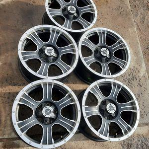 "5 wheels 17"" V-Tec black alloy 5-lug 5x5 Jeep Wrangler older Chevy GMC trucks 17x8.5 et25 set 5x127 for Sale in Parker, CO"