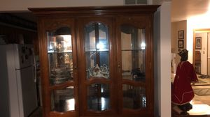 Antique china cabinet showcase with lighting for Sale in Tinley Park, IL