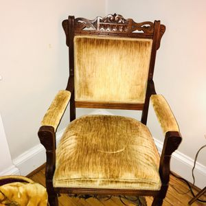 Stunning Mustard Colored Vintage Velvet Accent Chair With Ornate Woodwork for Sale in Norfolk, VA