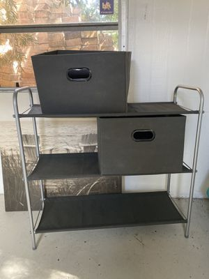 Storage rack with bins for Sale in Fort Lauderdale, FL