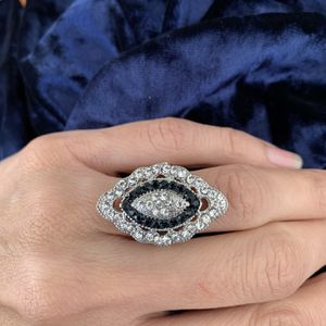Vintage silver blue sapphire women wedding engagement ring jewelry for Sale in Huntington Beach, CA