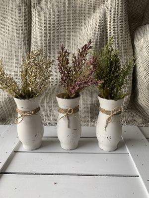 Rustic farmhouse / set of 3 / vase with flower decor for Sale in Deltona, FL