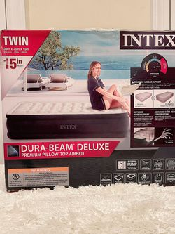 "Intex Twin 15"" DuraBeam Dream Lux Airbed Mattress with Built-in Pump for Sale in Arlington,  VA"