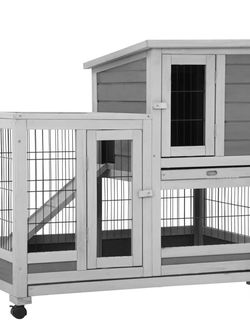 37 Inch Wood Rabbit Hutch Rabbit Cage Bunny Hutch Rolling Large Bunny Cage Indoor Outdoor Two Story Guinea Pig Hamster Hutch Rabbit House with Wheels for Sale in Suwanee,  GA