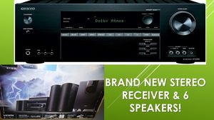 Last chance REDUCED! RECEIVER & 6 SPEAKERS, new in box ONKYO HT-S5800 Sound System for Sale in Richmond, TX