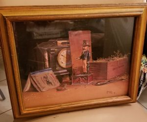"""16.5"""" x 14"""" Russell E. Hill '73 Wood Framed Uncle Sam's Bank Print for Sale in Fort Lauderdale, FL"""