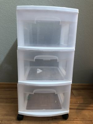 3 drawer plastic storage cabinet on rollers for Sale in Woodinville, WA