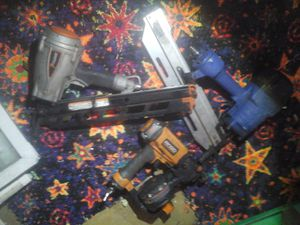 The orange nail gun (med size) Ridgid. The silver nail gun (large size)Paslode. The blue nail gun name isn't visible for Sale in Cleveland, OH