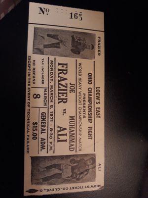 World Heavyweight Championship stub Joe Frazier vs Muhammad Ali March 8th 1971 for Sale in Palm Bay, FL