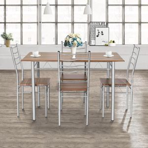 A18-21 5 Piece Dining Table Set Wood Metal Kitchen Breakfast Furniture w/4 Chair Walnut for Sale in Walnut, CA