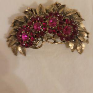 Vintage Garnet Rhinestone Leaf Brooch for Sale in Albuquerque, NM