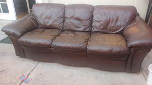 Brown leather couch for Sale in Colorado Springs, CO