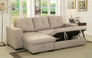 Beige convertible pullout sofa bed couch sectional/Yes We Finance 😁 To Apply Today / No Credit Needed - Order Today! for Sale in Downey, CA