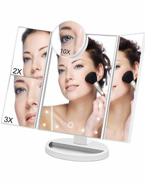 Brand new in box white Makeup Vanity Cosmetic Mirror 21 LED Lights, LED Lighted Table Makeup Mirror Touch Screen, Portable Travel Cosmetic Mirror 3X/ for Sale in Arnold, MO