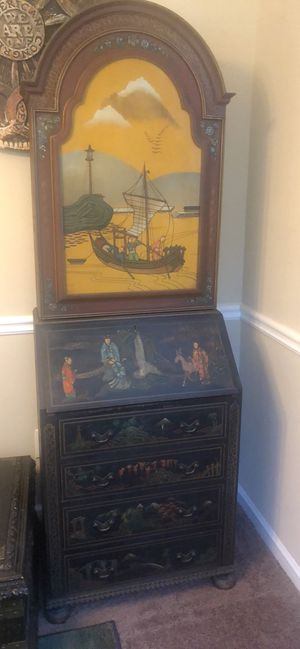Antique Asian inspired secretary desk with four drawers and upper cabinet for Sale in Powder Springs, GA