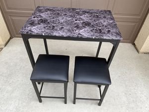 3 pcs Counter Height Dining Set - Faux Marble Table for Sale in Bakersfield, CA