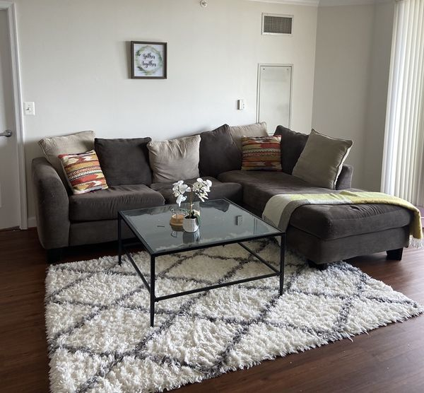 Grey Sectional Couch with throw pillows included