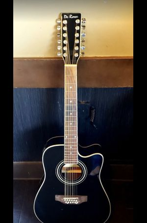 New Black 12 String Requinto Guitar Combo with Gig Bag and accessories. Guitarra Requinto Negro Cutaway con accesorios y Bolsa. for Sale in Compton, CA