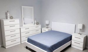 NEW QUEEN BEDROOM SET 6 pieces BED FRAME DRESSER AND MIRROR CHEST AND TWO NIGHTSTANDS MATTRESS IS NOT INCLUDED for Sale in Miramar, FL