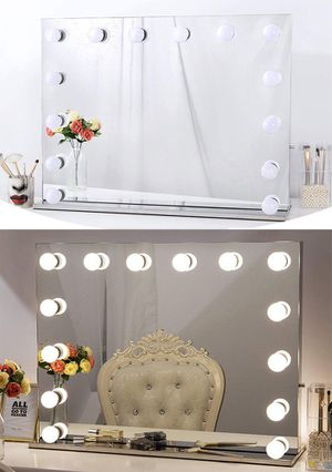 """New $325 Vanity Mirror w/ 14 Dimmable LED Light Bulbs, Hollywood Beauty Makeup Power Outlet 32x26"""" for Sale in Montebello, CA"""