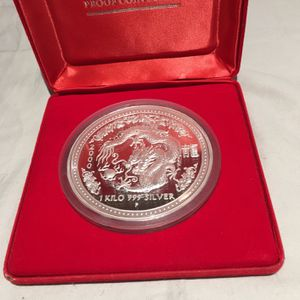 Australia 2000 Kilo Coin Silver Year Of The Dragon Proof - Rare Lunar - Coin No. 186/250 for Sale in Owings Mills, MD