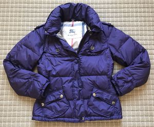 Burberry authentic purple quited jacket size small s for Sale in Hayward, CA