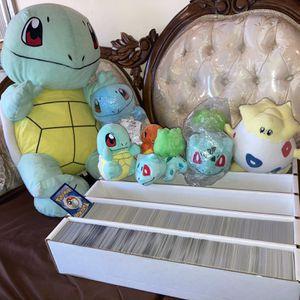 Pokemon Card Bulk Lot/ Plushies Squirtle Charmander Bulbasaur for Sale in Rosemead, CA