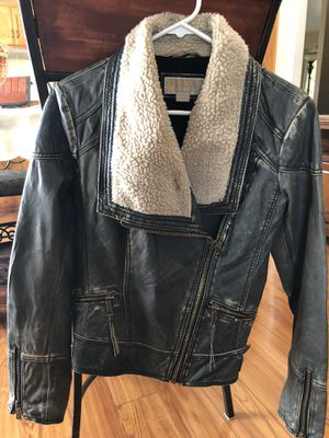 Michael Kors Women's Genuine Leather Jacket Size M for Sale in Turlock, CA