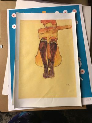 Ergon schiele shy girl wall art classy decor painting artist art supplies girl for Sale in Los Angeles, CA