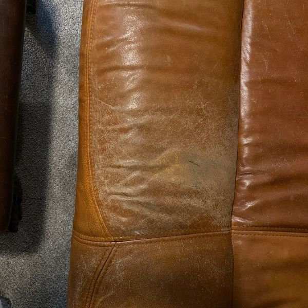 Leather Sofa & Loveseat Set with drawers.
