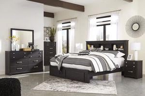 Reylow Dark Brown Bookcase fStorage Platform Bedroom Set for Sale in Falls Church, VA