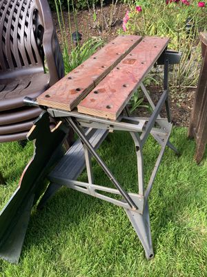 Table for saw/saw horses/work bench/ vise-top can expand for Sale in Portland, OR