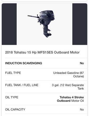 2018 Tohatsu 15 Hp MFS15ES Outboard Motor for Sale in Las Vegas, NV