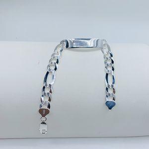 """925 Sterling Silver Figaro ID Bracelet 8"""" - Pulsera de plata de Hombre Disponible en 8 for Sale in Houston, TX"""