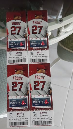 4 ANGLE BASEBALL TICKETS Sunday September 3rd 2019 for Sale in Cerritos, CA