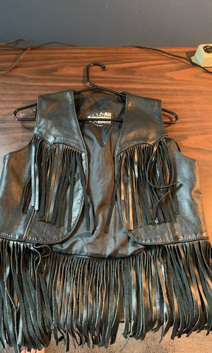 Women All American riders black leather fringe vest medium for Sale in Brooks, OR