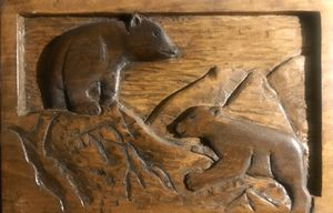 WOOD CARVING OF BEAR CUBS for Sale in Wichita, KS