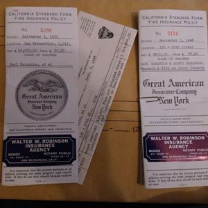 Vintage California Standard Form Fire Insurance Policy 1948-1951 OLD DOCUMENTS for Sale in Riverside, CA