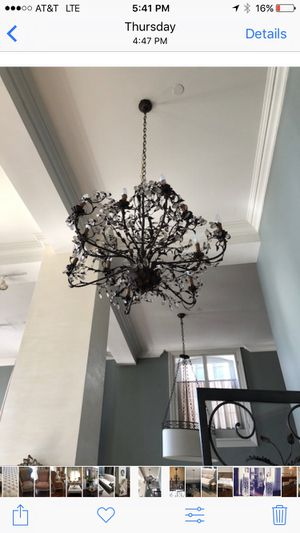 Antique French iron and crystal chandelier for Sale in New York, NY