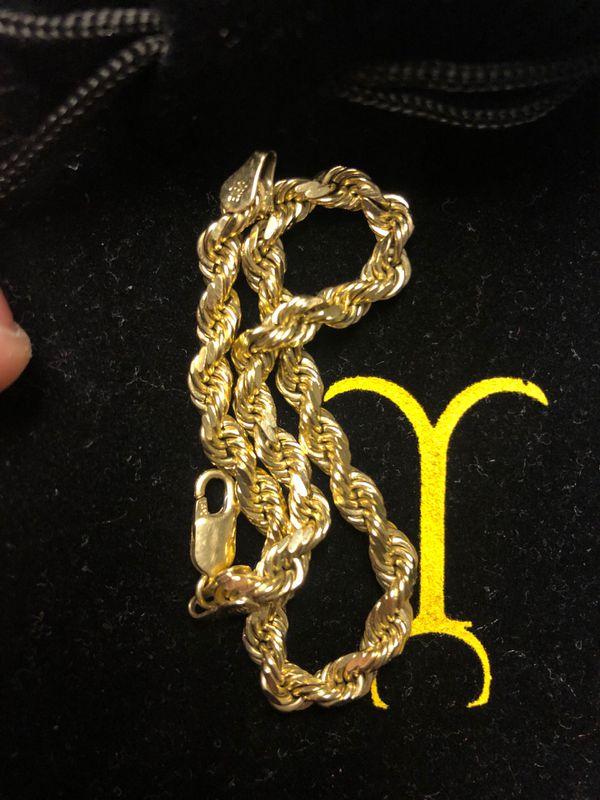 14k real GOLD diamond cut rope bracelet
