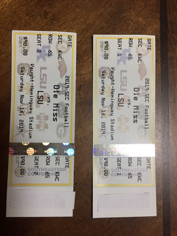 (2) Tickets— LSU vs Ole Miss